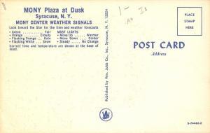 Syracuse New York~MONY $ Plaza Night Lights~Weather Signal Tower Orange~1960s PC