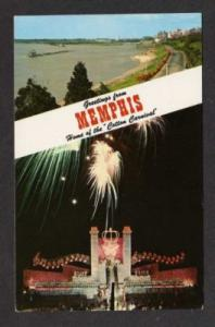 TN Greetings from MEMPHIS TENNESSEE Postcard Fireworks