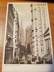 Antique Wall St. N.Y. City Postcard No. 306, National Art Views Co N.Y. City