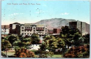 El Paso, Texas Postcard HOTEL ENGELUS & Plaza Bird's-Eye View w/ 1909 Cancel