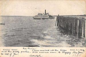 Bristol Rhode Island Ferryboat Waterfront Antique Postcard K81518