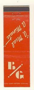 Vintage Chicago, Illinois/IL Matchcover, B/G Restaurant, ...