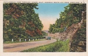 Homer Gulf View Highway 41A Homer Cortland County NY New York - pm 1938 - Linen