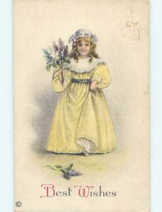Pre-Linen CUTE GIRL IN YELLOW DRESS HOLDING UP FLOWER BOUQUET HL5206