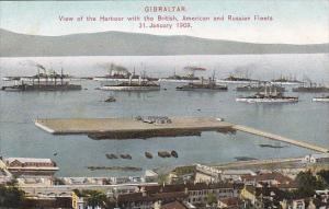 Gibraltar View Of Harbour With British American and Russian Fleets 31 January...