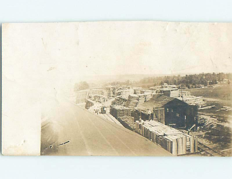 c1910 rppc forestry OVERHEAD VIEW OF STACKED LUMBER AND LUMBERYARD HM0497