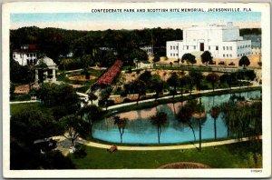 1930s Jacksonville, Florida Postcard Confederate Park & Scottish Rite Memorial
