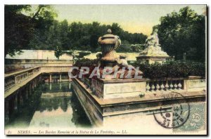 Old Postcard Nimes Romans Basins and the statue of the Fountain