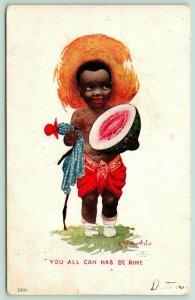 Bernhardt Wall~Black Americana~Cute Boy w/ Watermelon~You Can Hab de Rine~1907