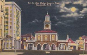 North Carolina Fayetteville Ye Olde Market House At Night Curteich