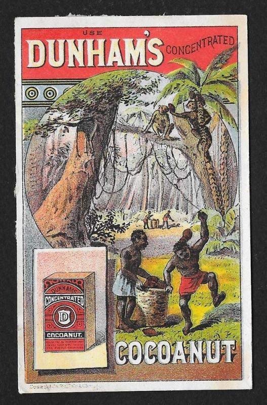 VICTORIAN TRADE CARD Dunham's Concentrated Coconut Blacks