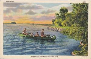 Wisconsin Greetings From Cumberland Canoeing Curteich