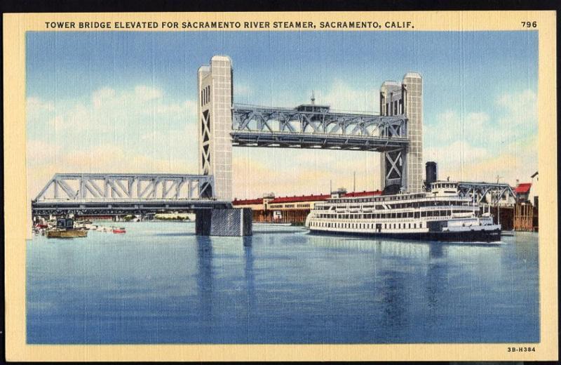 California ~ Tower Bridge Elevated for Sacramento River Steamer SACRAMENTO LINEN
