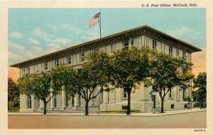 McCook Nebraska~US Post Office~15-Foot Trees~1938 Postcard