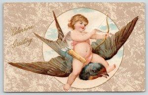 Winsch Valentine~Gossamer Cupid Rides Barnswallow~Takes Aim~Bow Arrow~Embossed