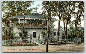 Denver CO~Elitch Garden~Wrought-Iron Fence~Pillars~Long Residence~c1910 Postcard