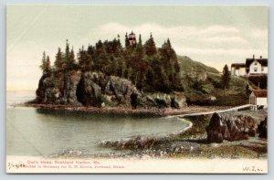 Rockland Harbor Maine~Owl's Head~Light House Above Evergreens~Homes~c1905
