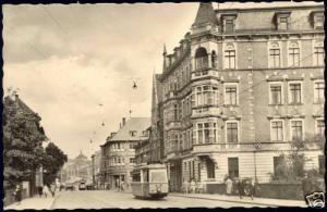 germany, NORDHAUSEN, Karl Marx Strasse, TRAM 1950s RPPC
