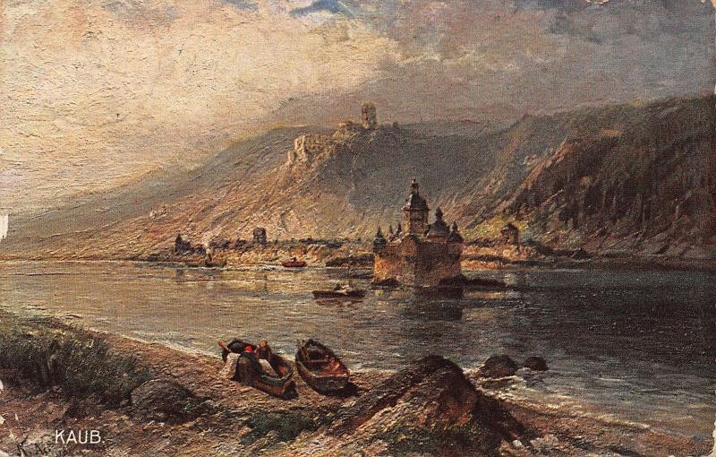 Kaub Burg Gutenfels und Pfalz Castle River Boats Postcard