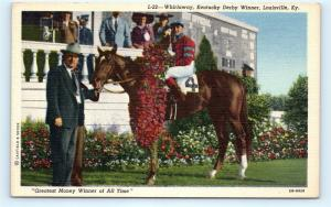 Postcard KY Louisville Kentucky Derby Winner Horse Whirlaway D21