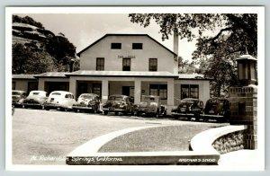 Richardson Springs California~Mineral Springs Lodge~Lamp Post~1930-40 Cars~RPPC