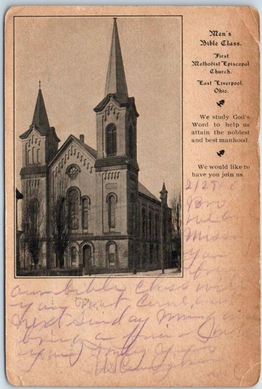 East Liverpool, OH Postcard Men's Bible Class, Methodist Episcopal Church 1908