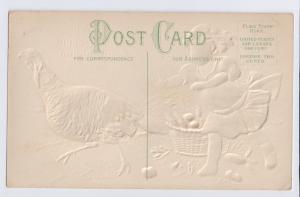 Thanksgiving Vintage Postcard Pretty Girl Chasing Turkey Embossed Gilded