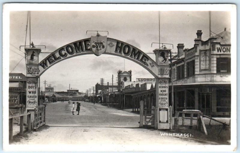 RPPC  WONTHAGGI, VICTORIA Australia   WELCOME HOME ARCH for Our Boys  Postcard