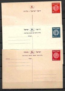 ISRAEL STAMPS 3 PRINTED POSTCARDS . 1952, UNUSED