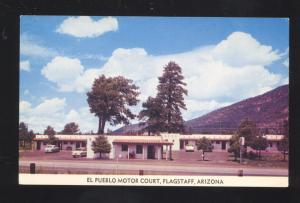 FLAGSTAFF ARIZONA ROUTE 66 EL PUEBLE MOTEL 1950's CARS ADVERTISING POSTCARD