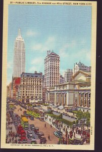 P1659 old unused postcard busy 5th ave. & 42nd st. many old cars new york city