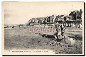 Old Postcard Arromanches Les Bains Beach and La Digue