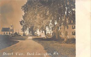East Limington ME Dirt Street View Church RPPC Postcard