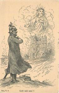 Artist impression C-1910 French Soldier Military Jesus Religion Postcard 12793