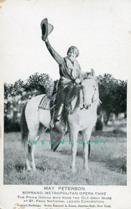 1924 St. Paul MN PC: Bookings Ad for Opera Diva May Peterson Shown On Horseback!