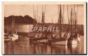 Old Postcard Boat Concarneau tuna vessels in the harbor
