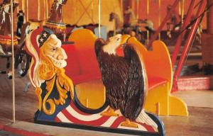 Story City Iowa Uncle Sam Bench Carousel Vintage Postcard K103942