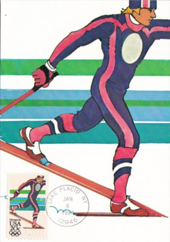 Nordic Skiing Stamp 1984 Los Angeles Olympics Artwork By Robert Peak
