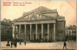 Vintage 1910s BRUSSELS Belgium Postcard Money Theatre Street Scene UNUSED