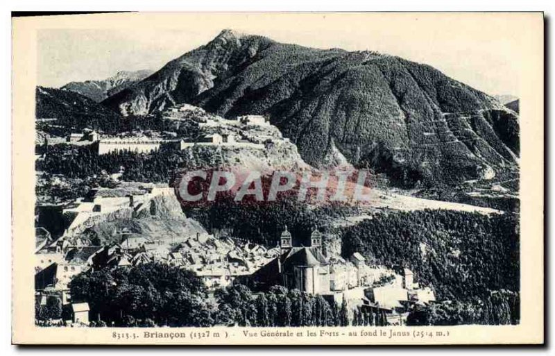 Old Postcard Briancon Vue Generale and background at Forts Janus