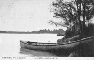 Sandown New Hampshire Lake Philip Waterfront Antique Postcard K92650