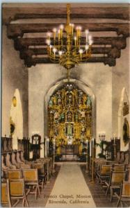 Riverside CA Postcard St. Francis Chapel, Mission Inn Hand-Colored Albertype