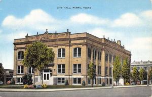 Pampa Texas City Hall Street View Antique Postcard K46815