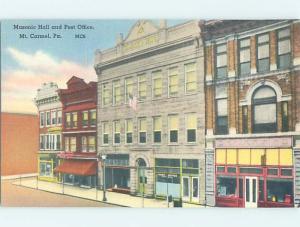 Unused Linen BUILDING SCENE Mount Carmel Pennsylvania PA H5156@