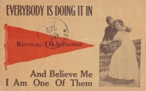 Everybody Is Doing It In Oklahoma Antique Romantic Love Fence Comic USA Postcard