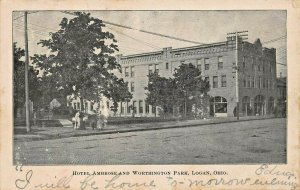 LOGAN OH~HOTEL AMBROSE & WORHINGTON PARK~1907 COLUMBUS & POMEROY R.P.O POSTCARD