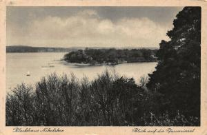 Blockhaus Nikolskae Blick auf Pfaueninsel Lake Boats General view Postcard