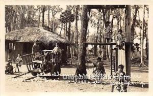 Real Photo Seminole Indians, Florida USA Postcard School House and Recreation...