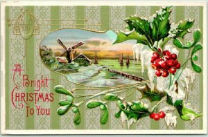 1910s CHRISTMAS Greetings Postcard A Bright Christmas to You Windmill - UNUSED