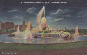 Illinois Grant Park Buckingham Fountain By Night